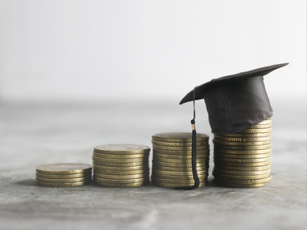 Coins with graduation hat
