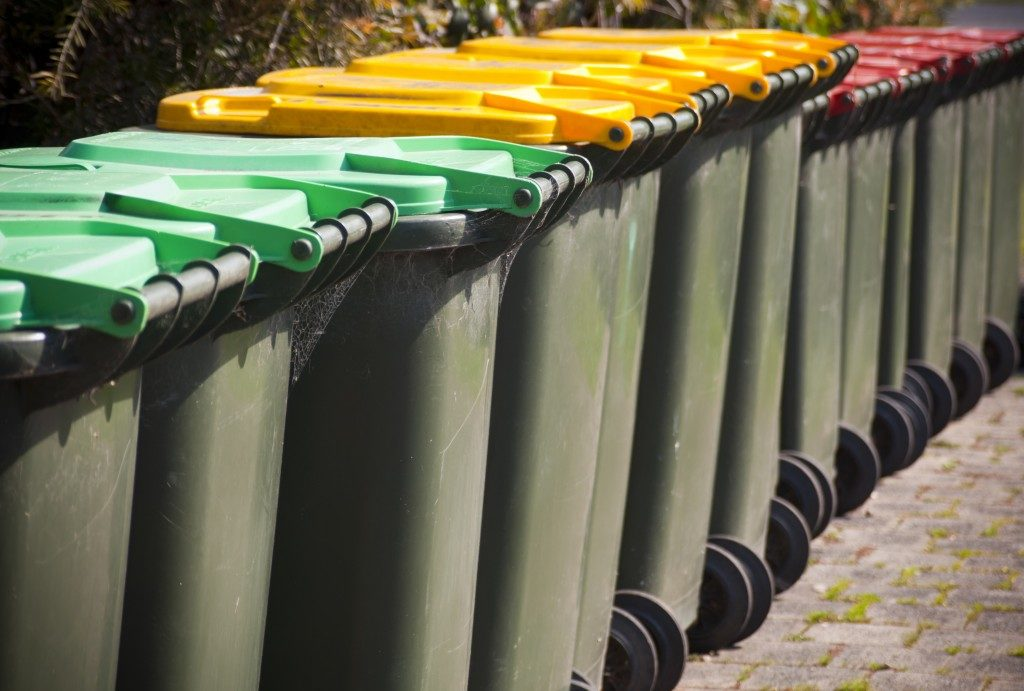 row of colorful recycling bills