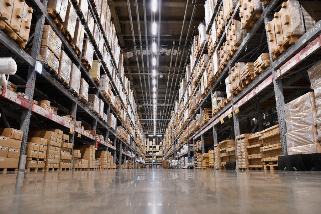 inside of a full warehouse