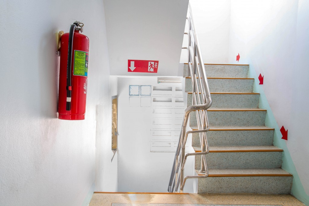 fire extinguisher placed in the office building