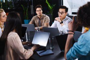 employees using laptops