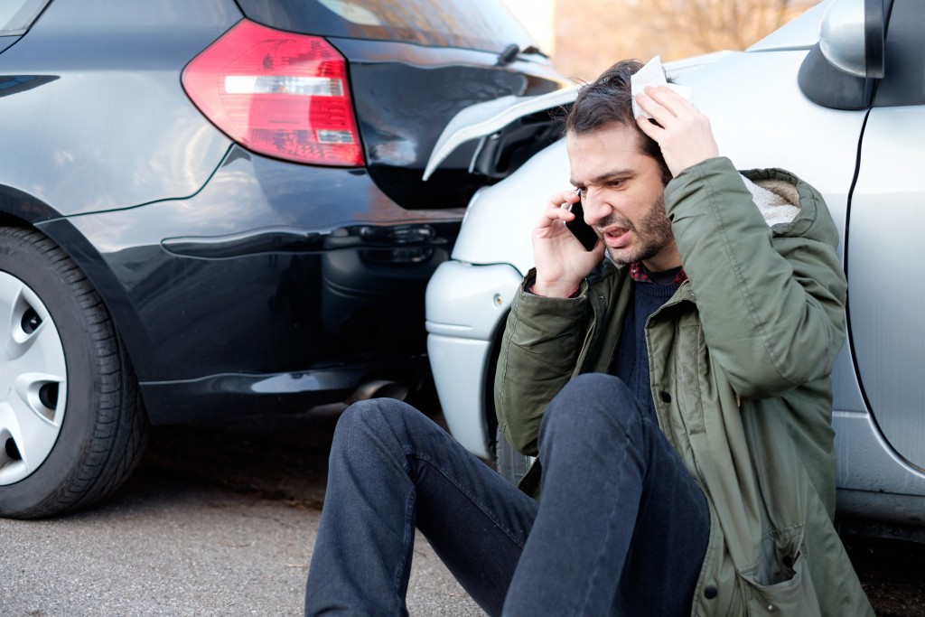 man in a car accident
